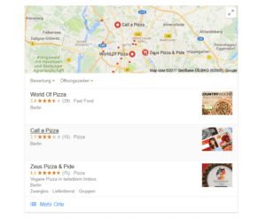 Screenshot Local SEO Local Pack Suchergebnisse