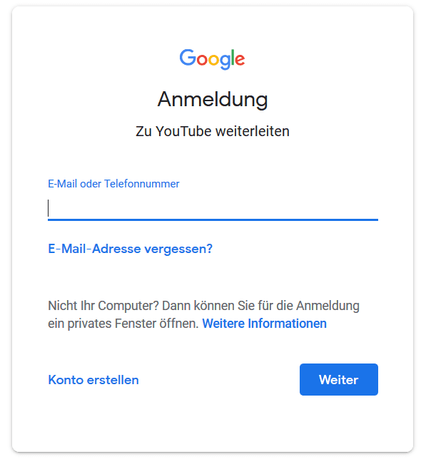 youtube anmeldung